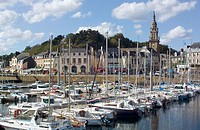 Boating harbour and town, Binic. Brittany, France