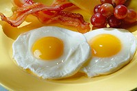 Eggs and bacon on a yellow plate