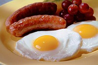 Sausage and fried eggs