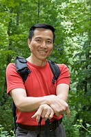 Portrait of mature man hiking