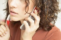 Close up of woman talking on mobile phone