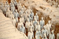 Terra-cotta soldiers in the tomb of Qin Shi Huang Di Xian, central China.