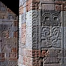Relief on the columns of the pre-Hispanic Palace of the Quetzal Butterfly in Teotihuacan, Mexico.