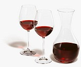Wineglasses and decanter