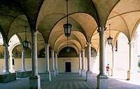Italy - Emilia Romagna - Forlì.The cloister of San Mercuriale Church