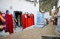Typical street in Chefchaouen, Morocco