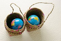 Globes in basket