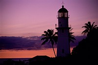 Silhouette of a lighthouse at dusk, Diamond Head Lighthouse, Oahu, Hawaii, USA