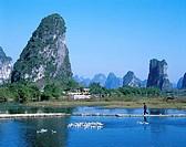 Typical Scenery, Limestone Mountains & River, Guilin, Yangshou, Guangxi Province, China