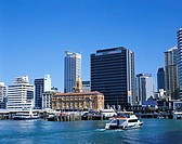 Waterfront Skyline and Auckland Harbour, Auckland, North Island, New Zealand