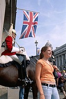 Horse Guard with Female Tourist, London, England