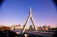 Bridge across a river, Leonard P. Zakim Bunker Hill Bridge, Boston, Massachusetts, USA