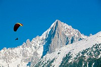Paraglider &  Aiguille du Midi / Winter. Chamonix. Mont-Blanc. Haute-Savoie. French Alps. France.