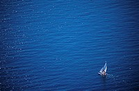 High angle view of a sailboat in the sea