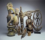 Collection of African, Papua, New Guinea and Sepik River Region Carved Wood Masks and Sculpture African Art