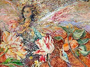 Angel with Tulips, Oranges & Bird, 2002, John Bunker (20th C. American), Watercolor, acrylic & metallics