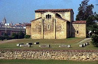 San Julián de los Prados or Santullano Church and cathedral in background. Oviedo, Asturias, Spain