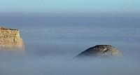 Hills in fog. La Puebla de Albortón. Zaragoza province. Aragón. Spain.