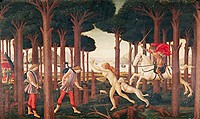 fine arts, Botticelli, Sandro, (1445 - 1510), painting, ´the story of Nastagio degli Onesti (second episode)´, circa 1483, tempera on panel, 84 cm x 1...