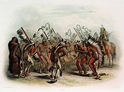 geography / travel, USA, people, American Indians, tribes, Mandan, Ischohä-Kakoschöchatä dance, colour engraving, after watercolour by Carl Bodmer, (1...
