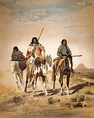 geography / travel, USA, people, American Indians, tribes, Shoshone, Shoshone hunting party, after painting by Robert Moran, from ´Report on Indians t...