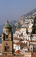 Bell tower of the St. Andrew´s cathedral, Amalfi, Amalfi coast. Campania, Italy