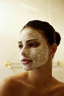 Close-up of a young woman with a facial mask (thumbnail)