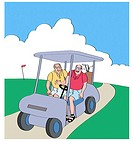 Golfers in Golf Cart Linda Braucht (20th C. American) Computer Graphics
