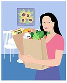 Bringing Groceries Home Linda Braucht (20th C. American) Computer Graphics