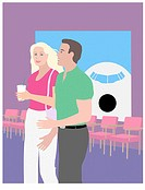 Airport Couple Linda Braucht (20th C. American) Computer Graphics