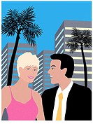 Tropical Hotel Couple Linda Braucht (20th C. American) Computer Graphics