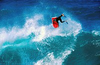 High angle view of a person surfing in the sea (thumbnail)