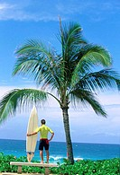 Rear view of a young man holding a surfboard on the beach (thumbnail)