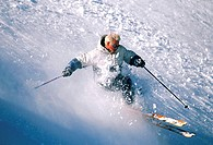 High angle view of a young man skiing