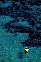 High angle view of a person surfing in the sea
