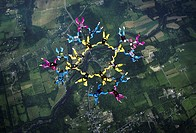 Aerial view of a group of people skydiving