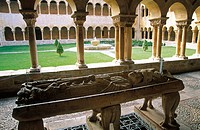 Romanesque style cloister and Santo Domingo de Silos sepulchre. Benedictine Monastery of Santo Domingo de Silos. Burgos province. Spain.