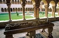Romanesque style cloister and Santo Domingo de Silos sepulchre. Benedictine Monastery of Santo Domingo de Silos. Burgos province. Spain.