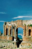 Ruins of Greek-Roman theater, Taormina and Etna, Sicily, Italy