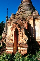 Ruined stupas of Shwe Inn Thein. Indein. Inle Lake. Shan State. Myanmar