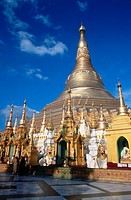 Giant golden stupa of Shwedagon pagoda. Yangon. Myanmar