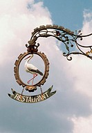 Low angle view of a sign of a restaurant, Riquewihr, Route du Vin, Alsace, France