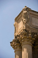 Low angle view of ornate columns, San Francisco, California, USA