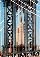 Manhattan Bridge and Empire State Building in background. Manhattan. New York City. USA