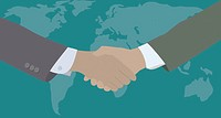 Businesspeople shaking hands with map of world in background