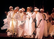 At the Marrakech Music and Dance Festival. Dance of the Souss region. Marrakech. Morocco.