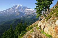 Female hiker on trail to Pinnacle Pass with Mt. Rainier looming in the background, Mt. Rainier National Park, Washington, USA