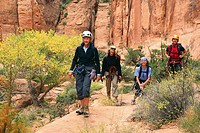 A group of female canyoneers hiking on sandstone in Pritchett Canyon near Moab, Utah, USA