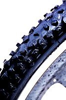 Close up of a mountainbikes' tire