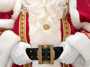 Santa holding onto belt